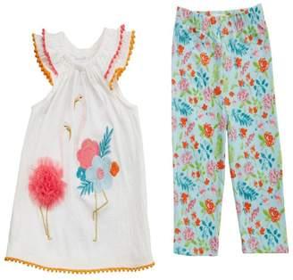 Mud Pie Flamingo Tunic/leggings Set