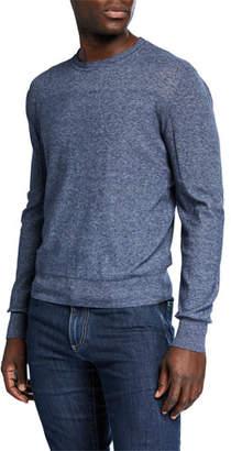 Canali Men's Slate Long-Sleeve Melange Crew Sweater