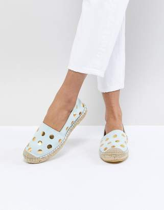 Selected Suede Espadrille With Metallic Print