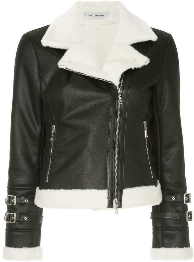 shearling biker jacket