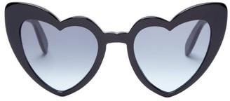 Saint Laurent Loulou Heart Shaped Sunglasses - Womens - Black Grey