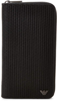 Armani Jeans Black Woven Large Zip-Around Wallet