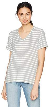 Michael Stars Women's Madison Brushed Stripe Short Sleeve v-Neck with Side Slits