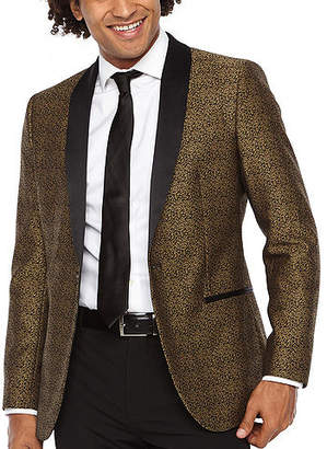 Jf J.Ferrar Formal Stretch Gold Leopard Classic Fit Sport Coat