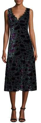 Nanette Lepore Sleeveless Floral Velour Midi Dress, Eggplant $598 thestylecure.com
