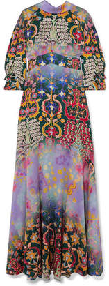Peter Pilotto Floral-print Hammered-silk Gown - Purple