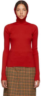 Balenciaga Red Hoodie Turtleneck