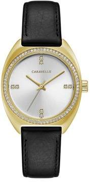 Bulova CARAVELLE Designed by Caravelle Women's Crystal Watch with Black Leather Strap - 44L249