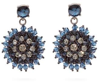 Oscar de la Renta Crystal And Bead Embellished Floral Drop Earrings - Womens - Navy