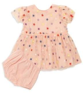 Stella McCartney Little Girl's Two-Piece Multicolor Embroidered Stars Tulle Dress& Bloomers Set