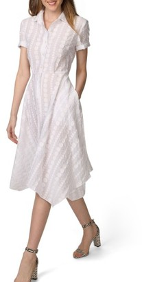 Women's Donna Morgan Handkerchief Hem Dot Jacquard Shirtdress $148 thestylecure.com