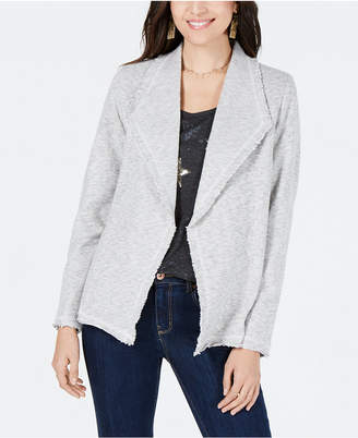 Style&Co. Style & Co Cotton Wide-Lapel Open-Front Blazer