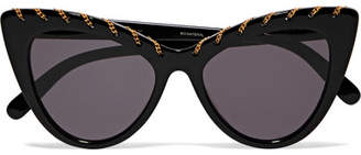 Stella McCartney Chain-embellished Cat-eye Acetate Sunglasses - Black