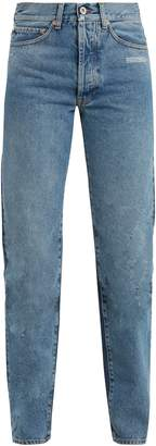 Off-White Contrast-panel high-rise straight-leg jeans
