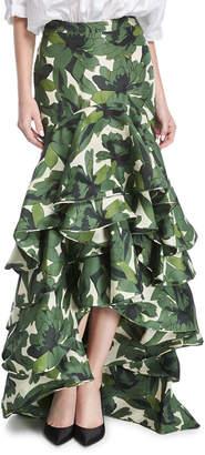 Johanna Ortiz La Penca Ruffled High-Waist Maxi Skirt