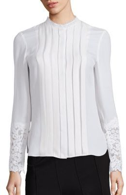 Elie Tahari Nicola Silk & Lace Pleated Blouse $348 thestylecure.com