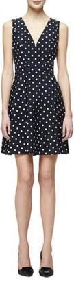 Carolina Herrera Polka-Dot Fit-&-Flare Dress, Black/White