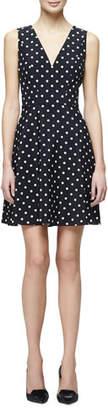 Carolina Herrera Polka-Dot Fit-&-Flare Dress, Black/White