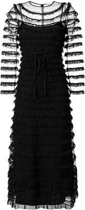 RED Valentino frilled embroidered maxi dress