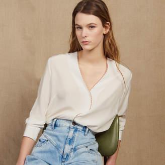 Sandro Low-Cut Silk Shirt