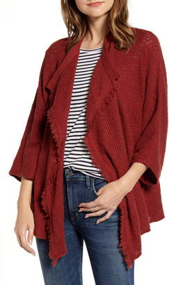 Caslon Drape Front Cotton Blend Cardigan