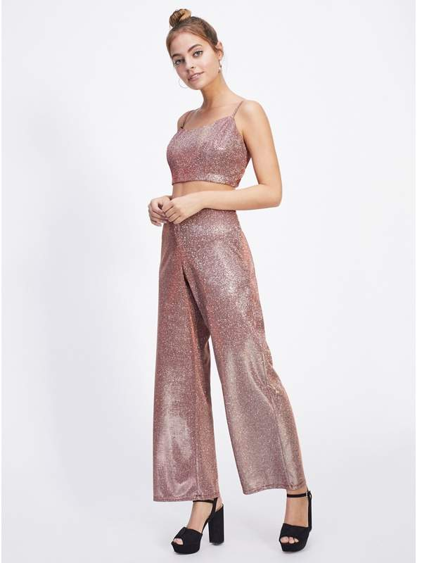 Petite Pink Shimmer Wide Leg Trousers