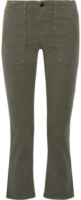 The Great The Army Nerd Cropped Stretch-twill Skinny Pants - Army green