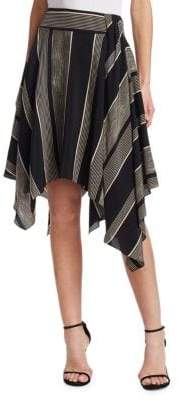 Halston Printed Handkerchief Slit Skirt