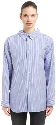 Balenciaga Swing Collar Striped Cotton Poplin Shirt