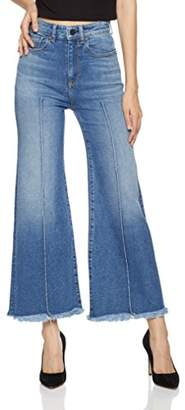 HALE Women's June High Waisted Wide Leg Crop Jean With Pin Tucks Kanti