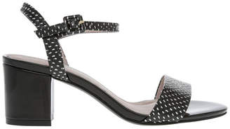 Basque Roma Black and White Spot Leather Sandal