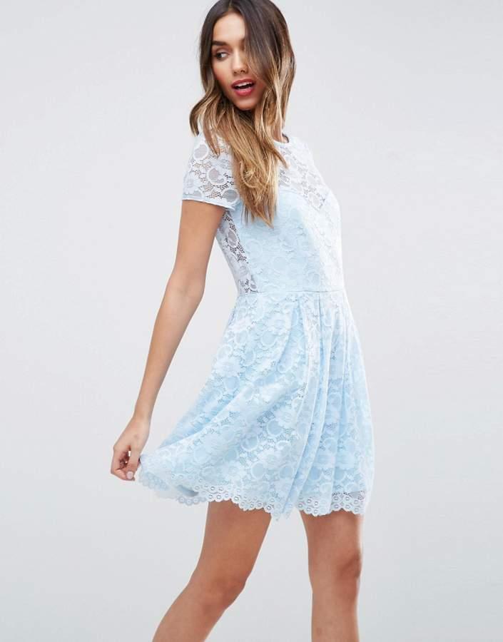 AsosASOS Lace Skater Mini T-Shirt Dress