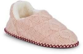 Dearfoams Cable-Knit Faux Fur-Trimmed Slippers