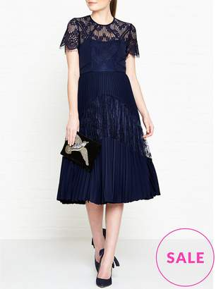Whistles Bianca Lace Pleated Dress