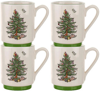 Spode Set of 4 Stacking Mugs - Christmas Tree