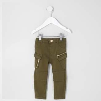 River Island Mini girls Khaki combat skinny jeans