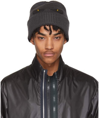 Fendi Grey and Black Bag Bugs Beanie
