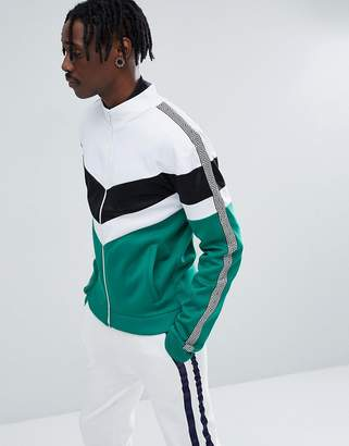 Jaded London Track Jacket In Green With Chevron Print