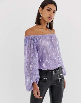 Bardot Asos Design ASOS DESIGN festival sequin body in lilac purple