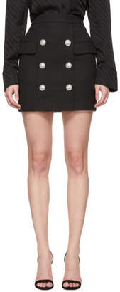 Balmain Black Button High-Waisted Miniskirt