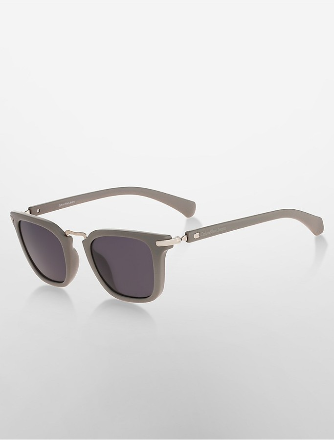Calvin KleinRectangle Matte Exposed Sunglasses