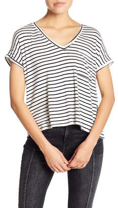 Project Social T Striped V-Neck Pocket Tee