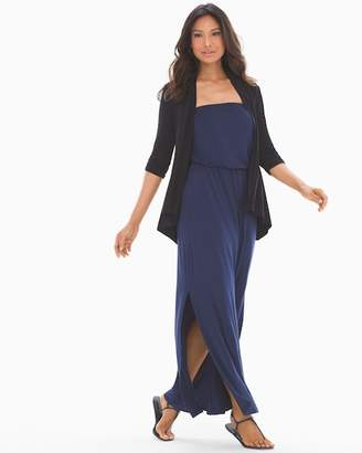 Soft Jersey Strapless Shirred Bandeau Maxi Dress Navy