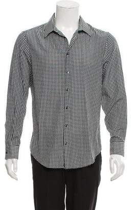Emporio Armani Silk-Blend Geometric Print Shirt