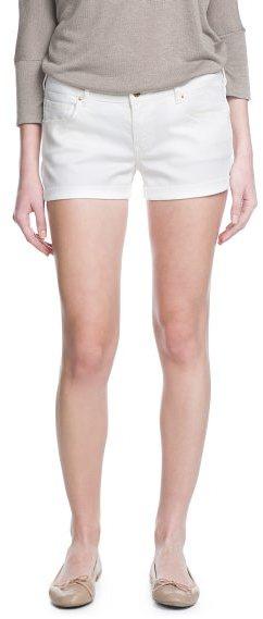 MANGO Outlet White Denim Shorts