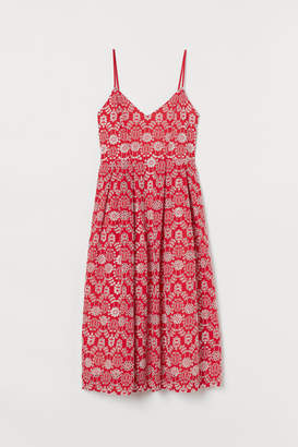 H&M Dress with Eyelet Embroidery - Red