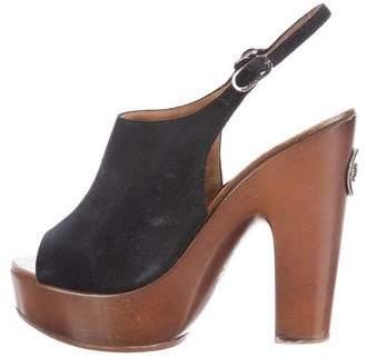 Chanel Suede Platform Sandals