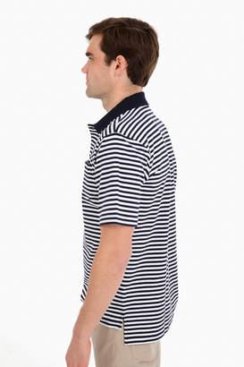 Boast Navy Striped Pocket Polo