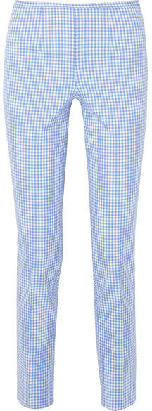 Michael Kors Collection - Gingham Cotton-blend Straight-leg Pants - Blue