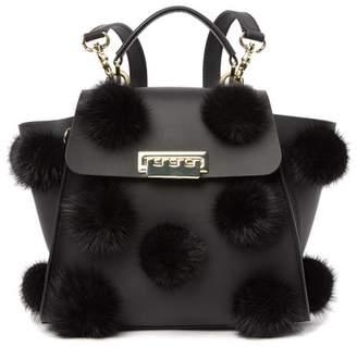 Zac Posen Eartha Iconic Genuine Mink Fur Convertible Leather Backpack